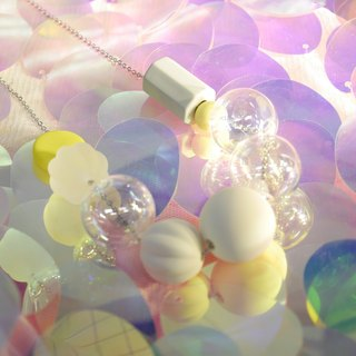 Simple Bubble Bubbles Stereo Bubble Glass Ball Geometric Symphony 925 Sterling Silver Necklace