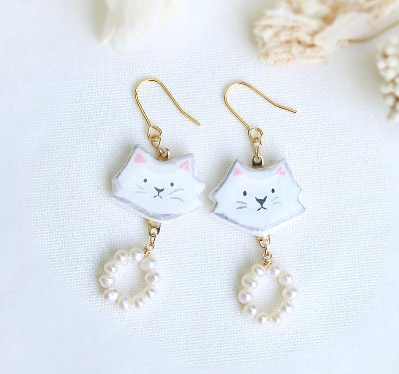 白色 貓咪 淡水 珍珠 耳環 / 耳夾 / 小貓