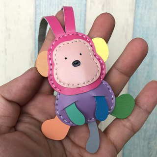 Leatherprince Handmade Leather Taiwan MIT Rainbow Cute Monkey Handmade Leather Charm Small size small size