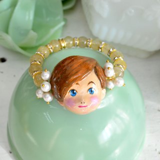 Handmade Little Boy Doll with Blonde Crystal Bead Bracelet