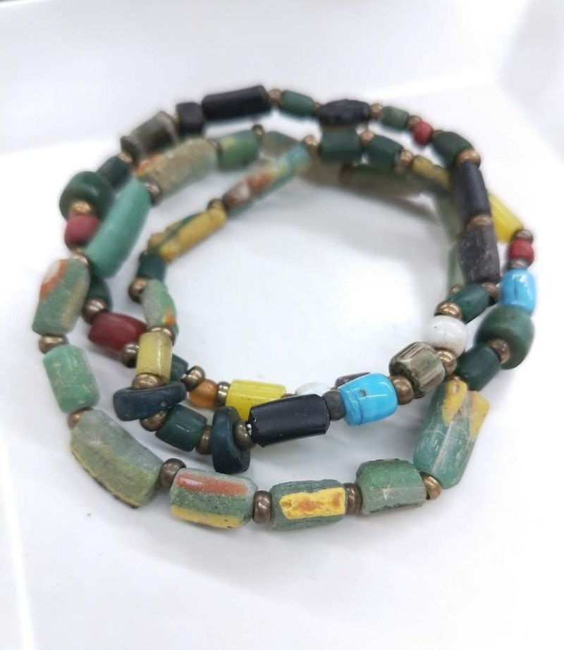 [The only product] multi-color ancient glass * collection treasures multi-ring bracelets