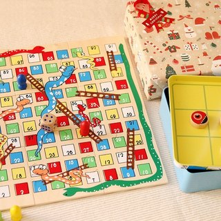 Puzzle Game Wooden snake and ladder & tic tac toe tin game