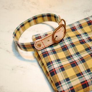 Dog collar L micro-autumn yellow-green Plaid Japan Buke plus purchase tag donation bell