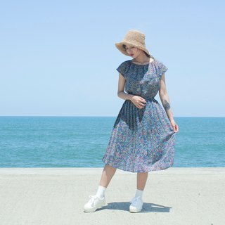 Blue and green colorful half sleeves vintage dress