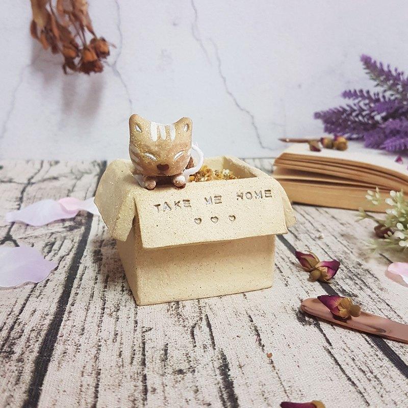紙箱虎斑貓香氛蠟燭台/擴香
