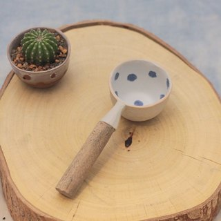 3.2.6. studio: Handmade ceramic mini tree dipper with wooden handle.