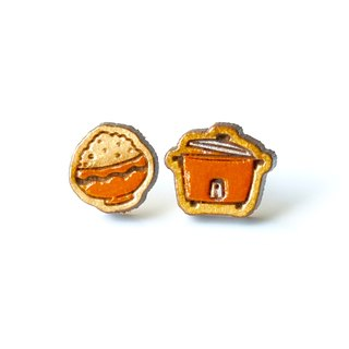 Painted wood earrings-Rice Cooker(Orange)