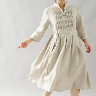 linen dress / wave pin tuck / stand collar dress/ flare dress / flaxen