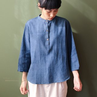 OMAKE Select stand collar blue dyed cropped sleeve shirt