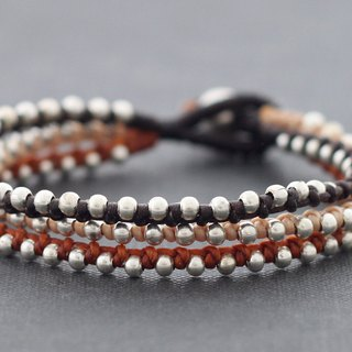 Earth Tone Cotton Woven Silver Beaded Bracelets Multi Strand Stud Bracelets