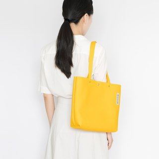 Simple canvas side backpack bag M-Temple yellow / Customized portable side shoulder Tote 13 inch notebook OK / men and women