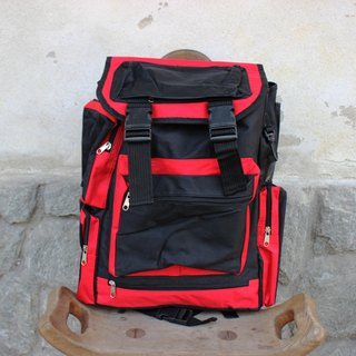 B162 black red large capacity double-sided front large pocket design canvas backpack (Italy back vintage new)