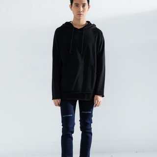 Plain pocket hoodie (black) # 8771