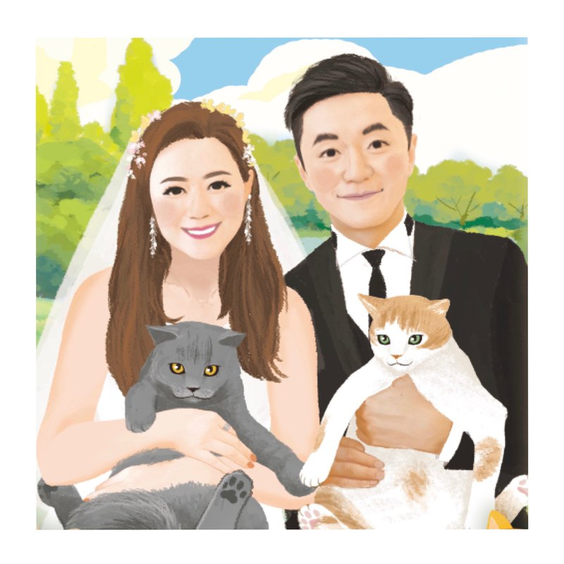 Customized Portrait with pet | Wedding | Birthday | Postcards | Gift