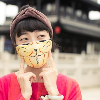 Gold and silver 喵 霸王别别猫猫型4 optional hand-painted cartoon mask cotton breathable printing