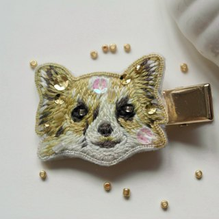 Qy's dogs golden chihuahua hand embroidery hairpin side clip hairpin hairpin hair gift