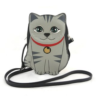 Sleepyville Critters - Grey Cat Crossbody Bag