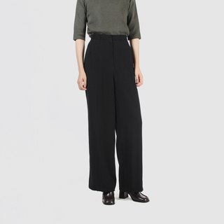 [Egg plant ancient] sesame wool loose straight ancient trousers
