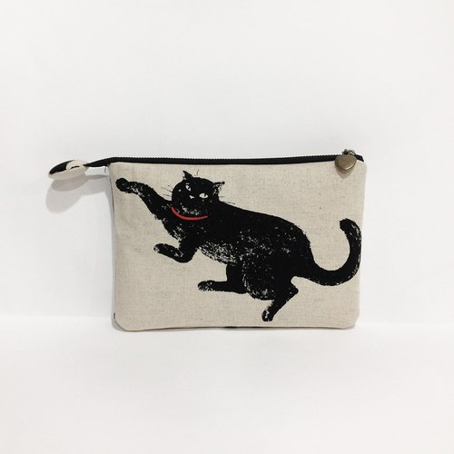 Black cotton flat bag pencil bags