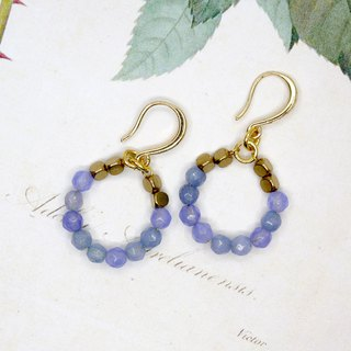 [Riitta] seawater blue circle blue chalcedony earrings (ear clip)