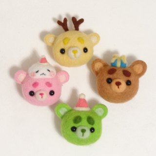 X'mas party Bear- Wool felt  (key ring or Decoration)