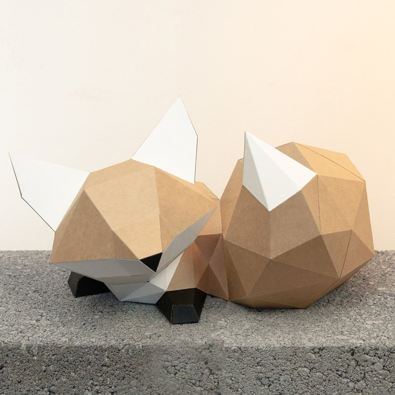 DIY手作3D紙模型擺飾 小動物系列 -趴坐萌尾巴小狐狸 (4色可選)