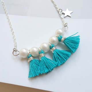 Cotton Pearls necklace with tassels (tailor-made available)
