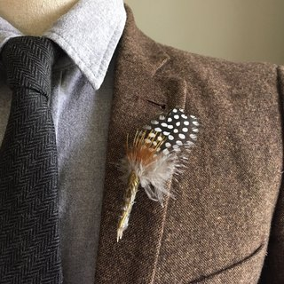 Gold Amber Feather Boutonniere/Lapel Pin for Wedding/Party