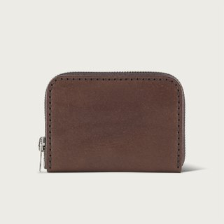 U-type zipper short clip / coin purse / wallet - deep coffee