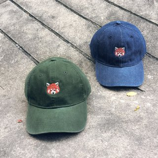 Red Panda Embroidery Cap / Colors : Dark Green, Denim