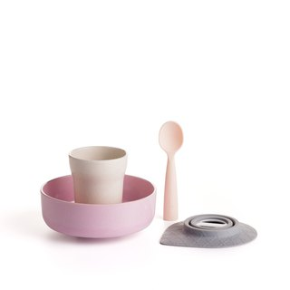 Miniware natural baby children learning tableware snack time group - strawberry + peach