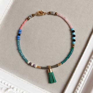 """KeepitPetite"" retro national wind color beads • • • small tassel bracelet bracelet"