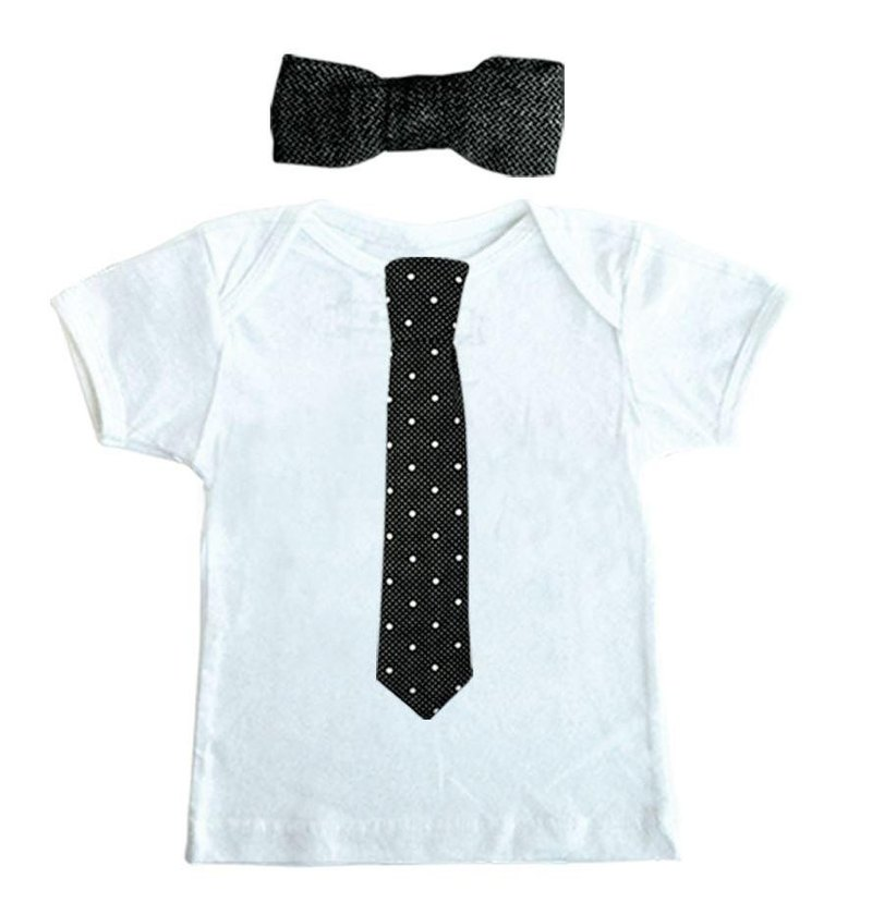 Mr. tie black and white T-shirt tie sets (dot tie + linen 啾啾)