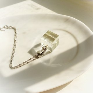 Winter transparent crystal ice square clavicle necklace
