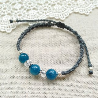 BUHO hand-made. deep sea. Blue Apatite X South American Brazilian Wax Line Bracelet