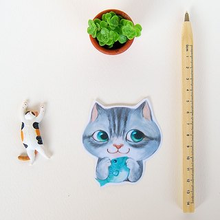 Fish cat / waterproof sticker /