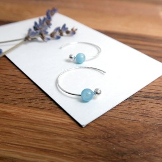 Sea Blue Sapphire Crescent Earrings (Small) - 925 Sterling Silver Natural Stone Ear Pins