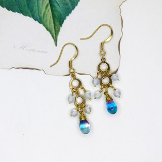 [Riitta] Mermaid opal crystal earrings (interchangeable ear clip)