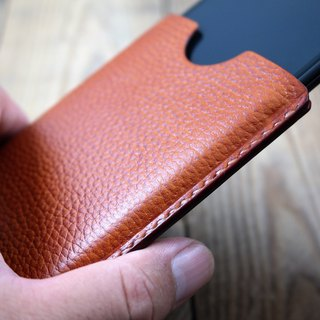 APEE leather handmade ~ plastic phone holster ~ lychee shallow tea ~ (iphone X)