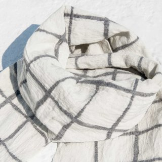 Handmade wool felt scarves / wet felt scarves / watercolor art scarf / wool scarf - white square check