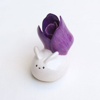 Handmade tulip  rabbit  of clay doll