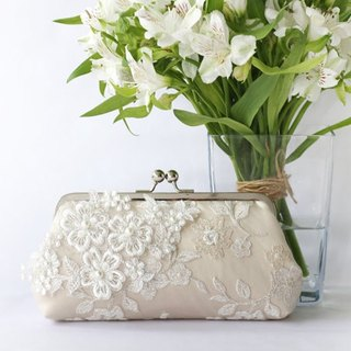 Handmade Clutch Bag in champagne & ivory | Gift for bridal | Pearl Sakura Cherry Blossoms Flower Vine Lace