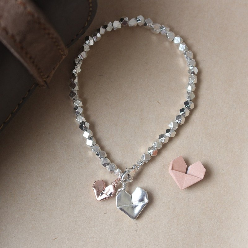 Green Rivor Silver Origami Big Silver Heart and Small Rose Gold Heart Bracelet