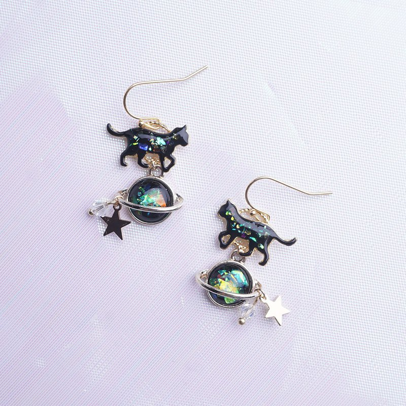 Cat Planet Ear Clips Shell Color Fantasy Kitten Planet Earrings Can Change Ear Clips Ears Original Gifts