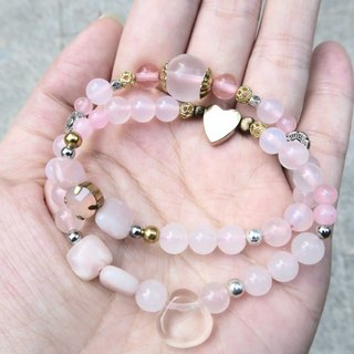 ✦ [Spirituality] Little ✦ It is highly recommended ✦ Super energy ✦ Pink crystal / strawberry crystal / pink opal / pink chalcedony / white crystal / brass / possession of silver accessories / beads • Two rings bracelet