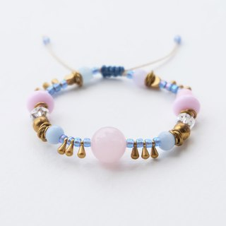 Baby pink gemstone string bracelet with brass and other mixed beads
