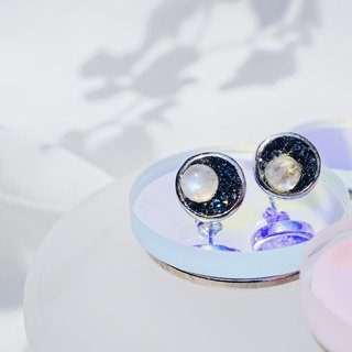 Crushed Hematite Moonstone Moon Eclipses 925 silver earrings