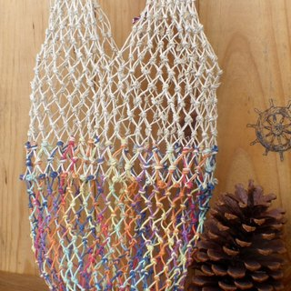 Large American twine hand-woven - color and original hemp - tote bag - beverage - thermos - lunch bag