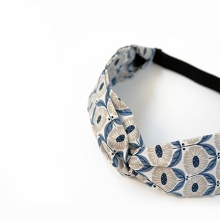 Nordic Vintage Blue Floral Adjustable Cross Narrow Edition Elastic Hairband