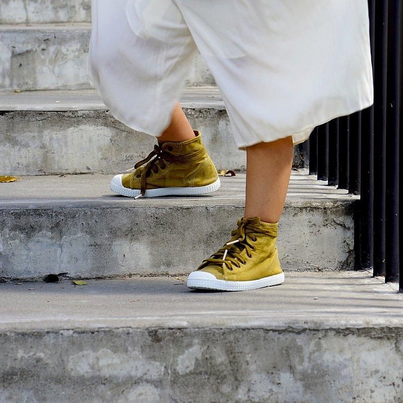 西班牙帆布鞋 CIENTA 61777 80 蜜蠟黃 洗舊布料 童鞋 高筒